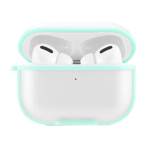 Insten Stylish Eggshell Pc Clear Case With Carabiner Compatible With Apple AirPods Pro, Green