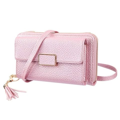 "Insten Universal Lady's Horizontal Posh MyJacket Wallet with Removable Shoulder Strap, Rose Gold - 7.6""x 4.3""x 1.3"""