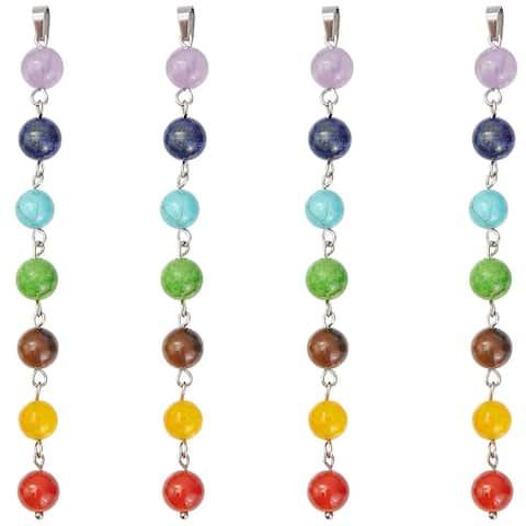4x 8mm Chakra Beads Pendant Stones Gemstones Jewelry Gifts for Women, 7 Chakras