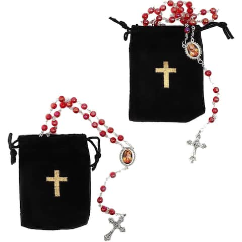 2x Rosary Beads Catholic Necklace Crucifix Cross Velvet Pouch, Red, 19.7 inch