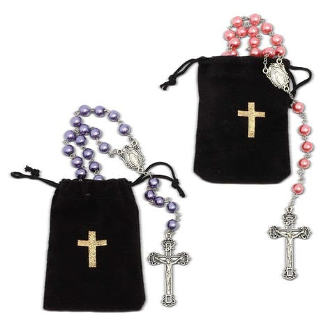 2x Rosary Beads Catholic Necklace Crucifix Velvet Pouch, Pink Purple 22.8 inch