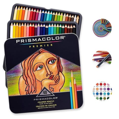 Premier Soft Core Colored Pencils, Assorted Colors, Pack of 48,New - 9.5 x 8.2 x 1 inches