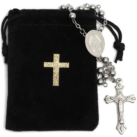 Rosary Beads Catholic Necklace Crucifix Velvet Pouch, Stainless Steel 19.7 in