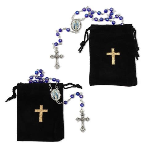 2x Rosary Beads Catholic Necklace Crucifix Cross Velvet Pouch, Blue, 19.7 inch