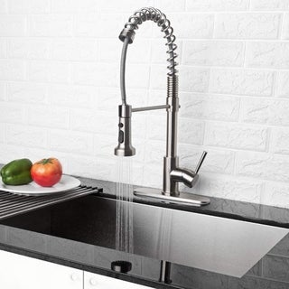 Link to Brushed Nickel Pull Out Sprayer Single Handle Kitchen Faucet Similar Items in Faucets