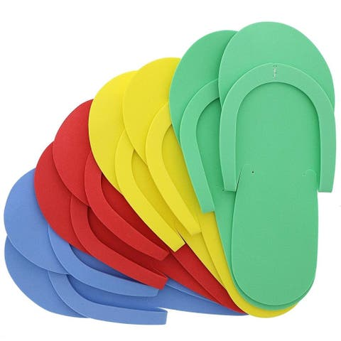 48 Pairs Pedicure Slippers, Disposable Soft Foam Flip Flops, 4 Colors, One Size