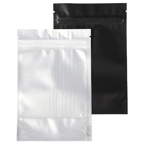 100x Resealable Smell Proof Foil Flat Pouch Bag for Food, Black Silver, 4 x 6 in
