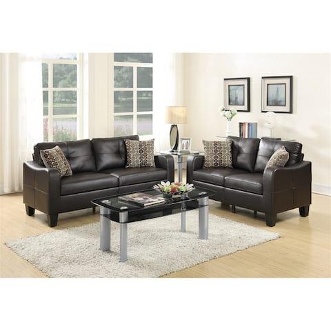 Bonded Leather 2 Piece Sofa & Loveseat Set, Soft Curve Edges,Espresso