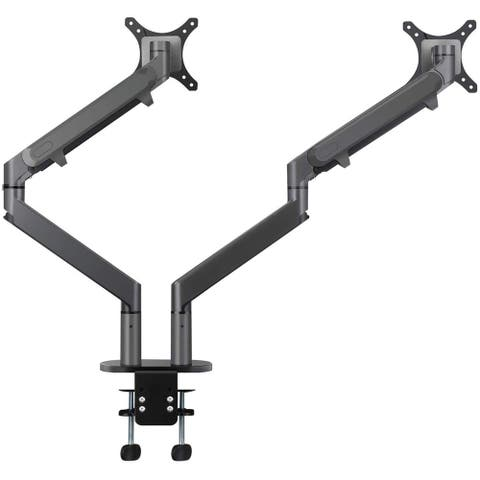 """AITERMINAL Dual Arm Monitor Desk Mount Stand for 17-27"""" Computer Grey"""