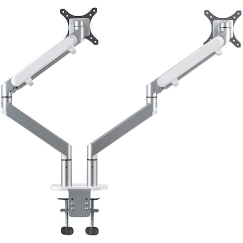 "AITERMINAL Dual Arm Monitor Desk Mount Stand for 17-27""Computer Silver"