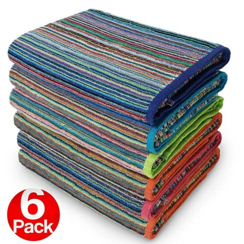 "Kaufman-6 Pack-Beach Terry Royal Stripe Towel.Assorted Color 100 USA Cotton - 30""x 60"