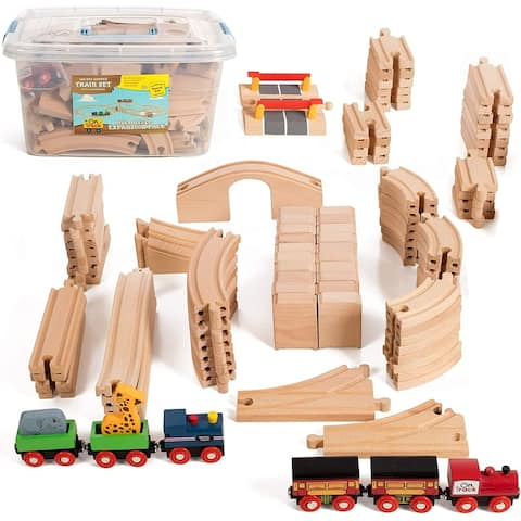 On Track USA Wooden Train Set 100 Piece Expansion Pack Train Track Set