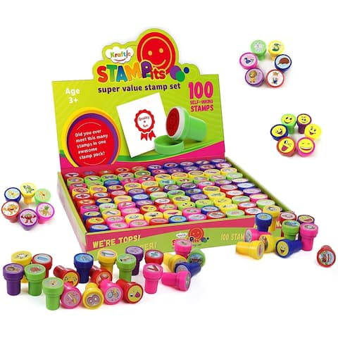 Kraftic 100 Piece Stamps Set with Emojis, Alphabet, Animals and More