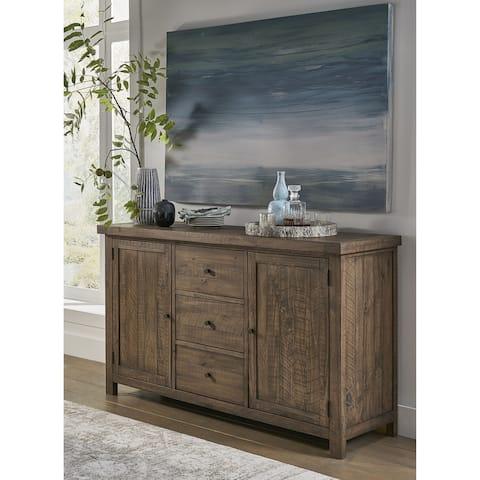 Autumn Solid Wood Three Drawer Two Door Sideboard in Flint Oak - 38Hx67Wx20D