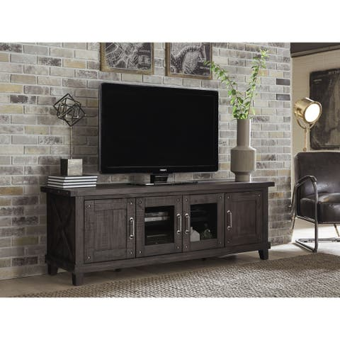 Yosemite Solid Wood Four Door Media Console in Cafe - 73 inches in width