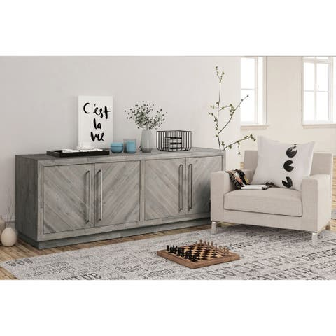 """Alexandrda Solid Wood 74"""" Media Console in Rustic Latte - 73 inches in width"""