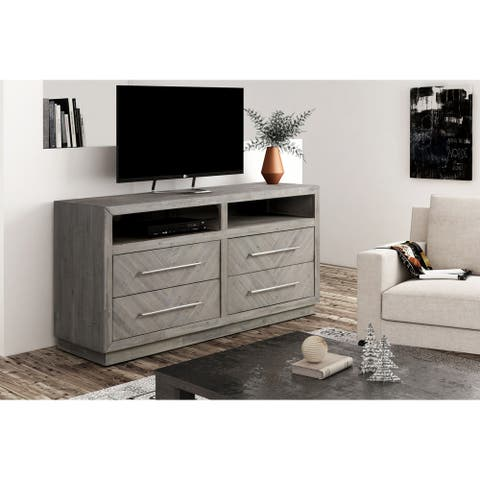 """Alexandra Solid Wood 64"""" Media Console in Rustic Latte - 65 inches in width"""