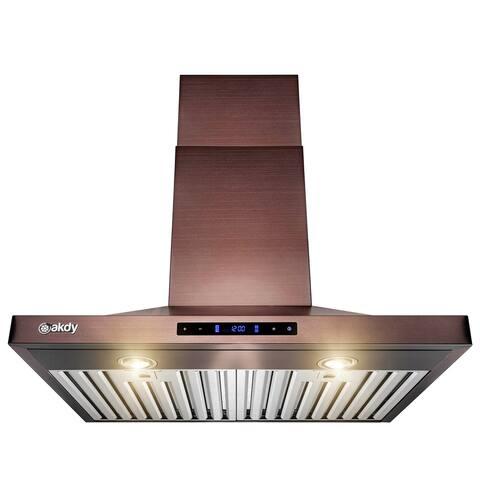 AKDY 30'' Wall Mount Brushed Bronze Stainless Steel Kitchen Range Hood