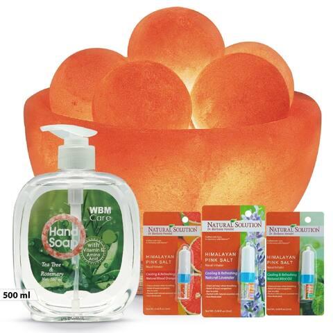 WBM Gift Set- Bowl Salt lamp,Natural Lemon Hand Soap with Nasal Inhaler