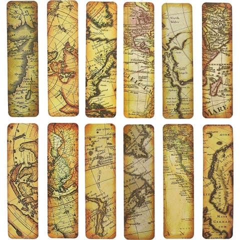 48x Vintage World Map Bookmarks Page Marker Assorted Historic Globe Map Design