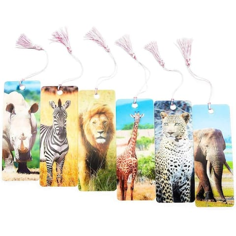 12pcs PET 3D Effect Wild Animal Bookmarks with Ruler 5.95 in, for Kids Students