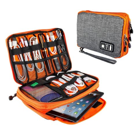 "Electronics Organizer Travel Electronic Accessories Case for Cable, Charger, Phone, USB Drive, SD Card, Mini Tablet(Up to 7.9"")"