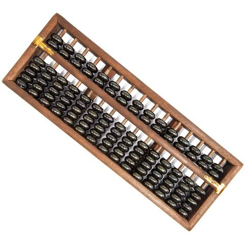 Chinese Wood Abacus Calculator Soroban, Vintage-Style, 15 Columns 14 x 1 x 5 in.