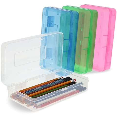 4x Pencil Case Box with Snap-Close Lid for Kids, 4 Colors, 7.75 x 4.5 x 2.25 in.