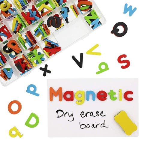 Set of 208 Magnetic Letters Set with Box Board for Kids, Lowercase Uppercase