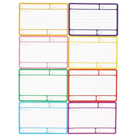 40 Pack Magnetic Dry Erase Labels, Index Cards for Classroom, 8 Colors 6 x 4 in.