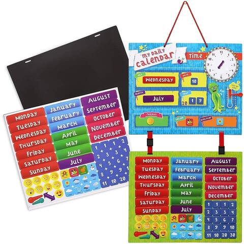 Kids Magnetic Daily Learning Calendar for Preschool Education, 15.8 x 12.7 inch