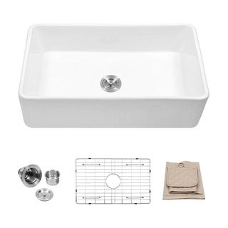 Link to 33 Inch White Porcelain Single Bowl Farmhouse Kitchen Sink Similar Items in Sinks