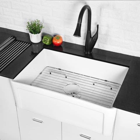 30 Inch White Porcelain Single Bowl Kitchen Sink