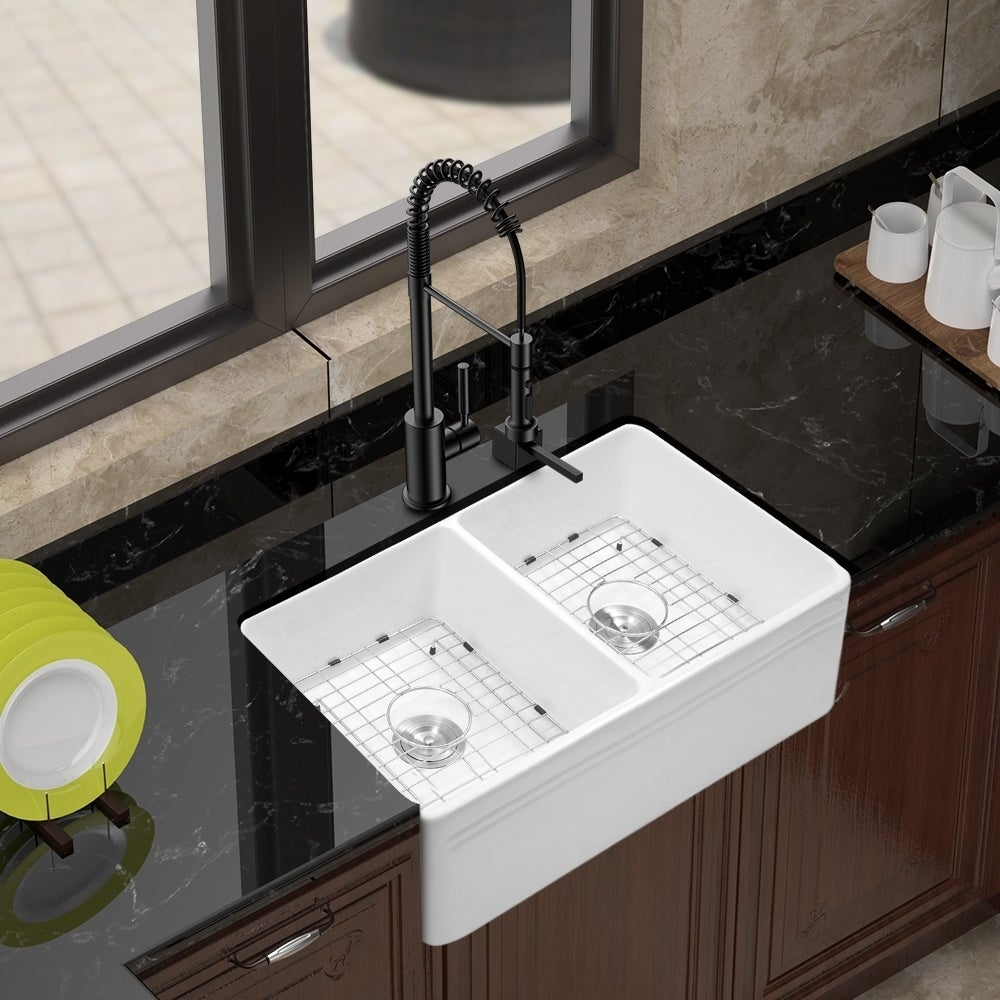 33 Inch White Porcelain Double Bowl Kitchen Sink On Sale Overstock 31135675