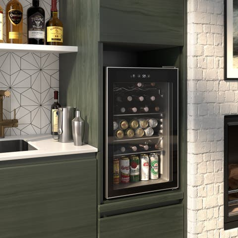 Okada 126 Can or 37 Bottles Beverage refrigerator or Wine Cooler with Glass Door for Beer, soda or Wine-Drink Freezer for Party