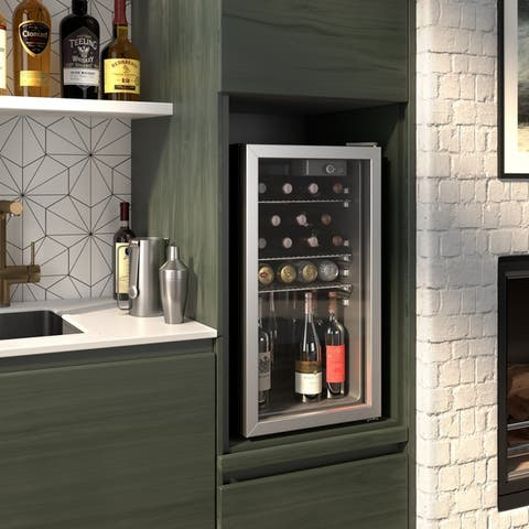 Okada 90 Can or 26 Bottles Beverage refrigerator or Wine Cooler with Glass Door for Beer, soda or Wine - Drink Freezer for Party