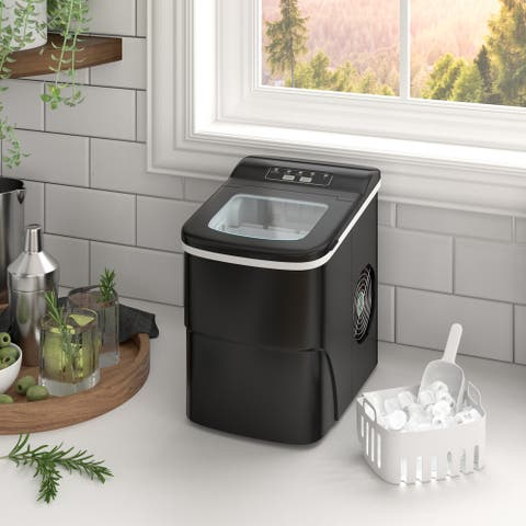 Portable Ice Maker Machine Countertop - Ice Cube Ready in 6 Mins - Makes 26lbs Ice in 24h - Great for Home Office Bar Party