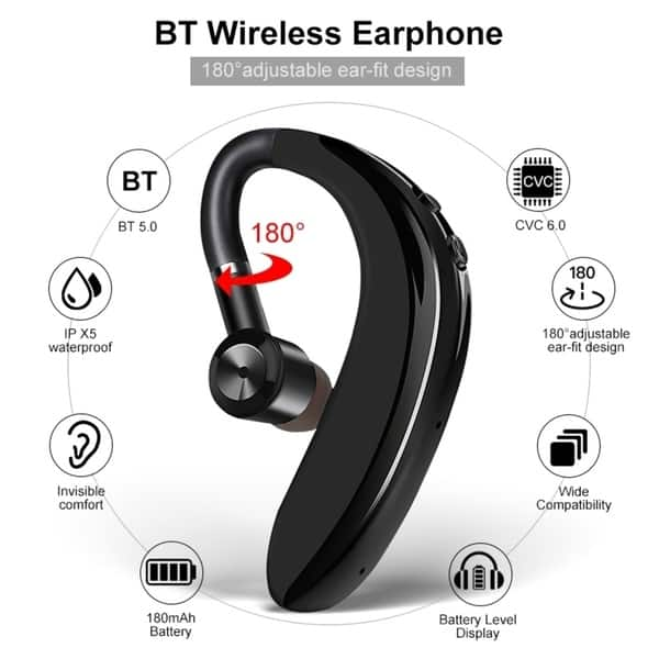 Shop Bluetooth Wireless Earphone Single Sport Headset Stereo Noise Cancelling Business Headset Ear Hook Handsfree Earbuds Overstock 31136715