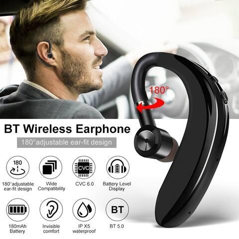 Bluetooth Wireless Earphone Single Sport Headset Stereo Noise Cancelling Business Headset Ear Hook Handsfree Earbuds