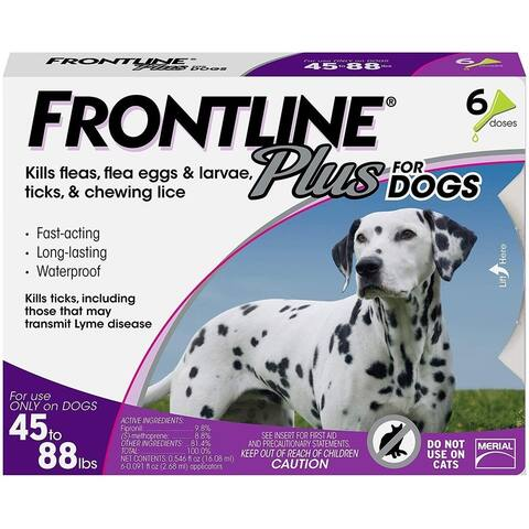 Frontline Plus for Dogs Large Dog Flea and Tick Treatment, 6-Doses - 5.8 x 1 x 4.5 inches