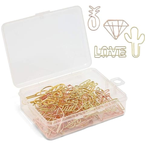 32Pack Metallic Rose Gold and Gold 4 Design Binder Document Clips Gift for Kids