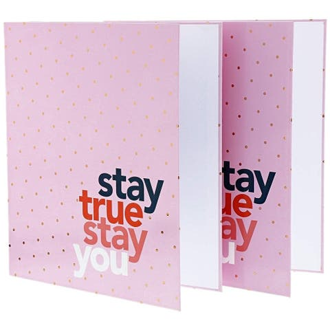 2x 3-Ring Binders 1 inch Ring Pink Daily Planner Document Organizer Gold Foil