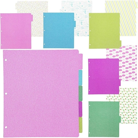 10x Glitter 5 Subject 3 Ring tabs with Adhesive Labs, 5 Colors Assorted