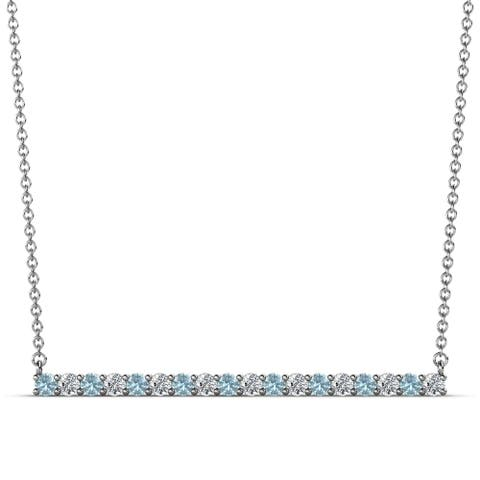 TriJewels Gemstone Diamond Women Horizontal Bar Pendant Gold Necklace