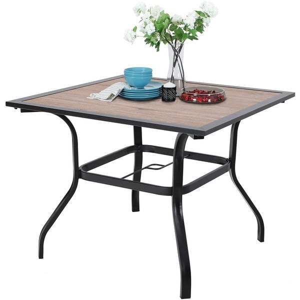 "Sophia & William 37"" Outdoor Dining Table with Umbrella Hole - 37*37. Opens flyout."