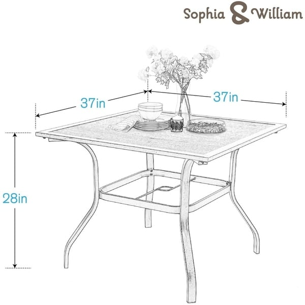 "Sophia & William 37"" Outdoor Dining Table with Umbrella Hole - 37*37"