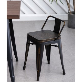 Link to Andeworld 18 inch distressed low back metal barstool Metal Dining Chairs Kid's stools with wooden seat (Set of 4) Similar Items in Dining Room & Bar Furniture