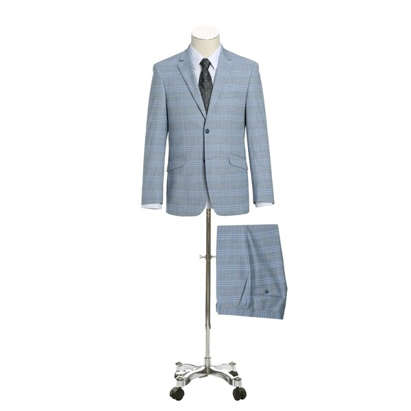 Verno Mens 2-Piece Slim Fit Notch Lapel Stretch Windowpane Suit by  Fresh