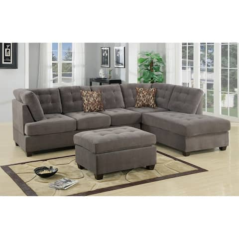 Sectional Sofa With Tufted, Grey