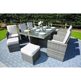11-Piece Outdoor Rectangle Patio Wicker Dining Set